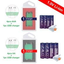 Bateria recarregável do li íon 1.5v do aa dos pces 2800mwh de palo 4 + bateria recarregável do lítio de 4 pces 1.5v aaa 900mwh com carregador de 1.5v usb