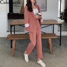 Colorfaith 2021 New Spring Autumn Woman Sets 2 Piece Matching Pants Casual High Elastic Waist Double Breasted Female Suit WS1273