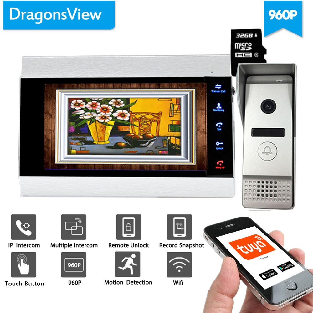 Dragonsview  7 Inch 960P HD Wifi Wired Video Intercom System Wireless Wide Angle Motion Detection Recording Unlock Talking