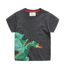 Jumping metros novo verão bebê t camisas dragão bordado topos roupas de algodão manga curta t camisas crianças moda t para meninos