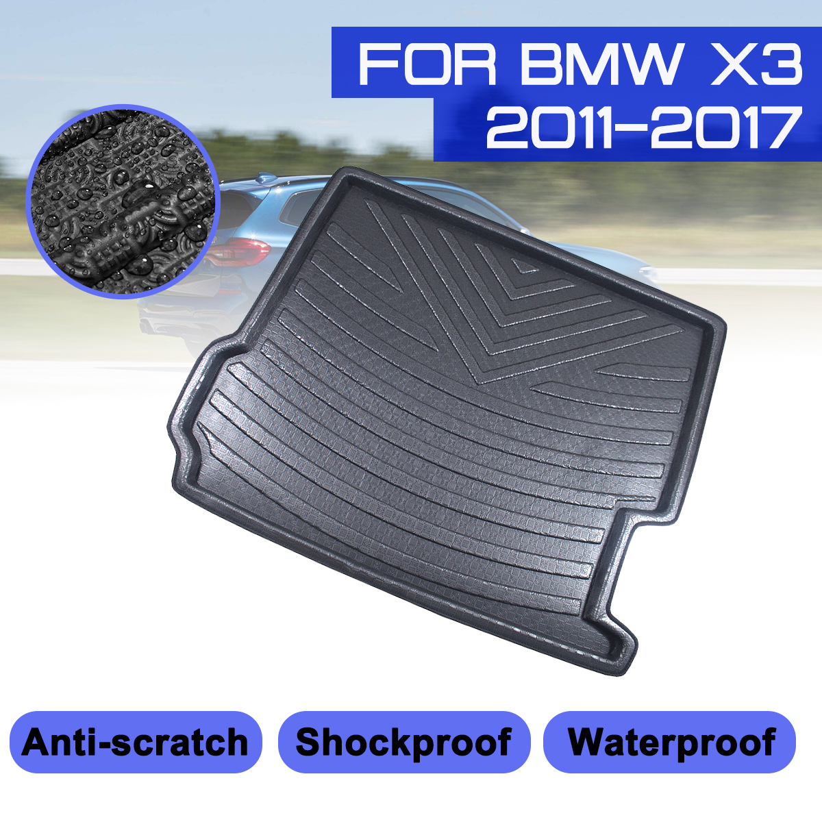 For BMW X3 2011 2012 2013 2014 2015 2016 2017 Car Rear Trunk Boot Mat Waterproof Floor Mats Carpet Anti Mud Tray Cargo Liner