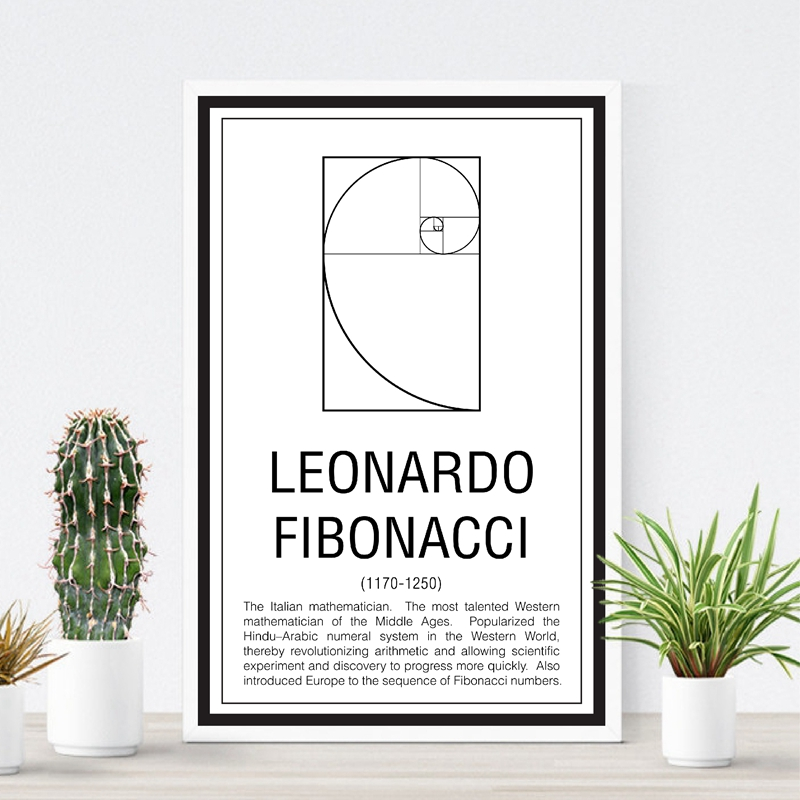 Wall Art Canvas Painting Math Print Maths Education <font><b>Poster</b></font> Mathematician <font><b>Fibonacci</b></font> Modern Picture Gift Home Wall Decoration image