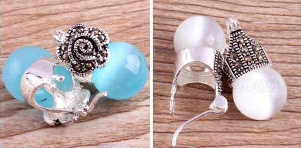 Bijoux Jade boucle d'oreille Vintage femmes blanc/bleu opale 925 argent Sterling marcassite boucles d'oreilles livraison gratuite