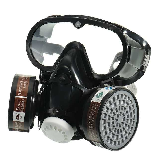Protective Safety Chemical Respirator PM2.5 Face Mask Eye Nose Pretection Breathable Vavle Gas Shield Mask for Men Women