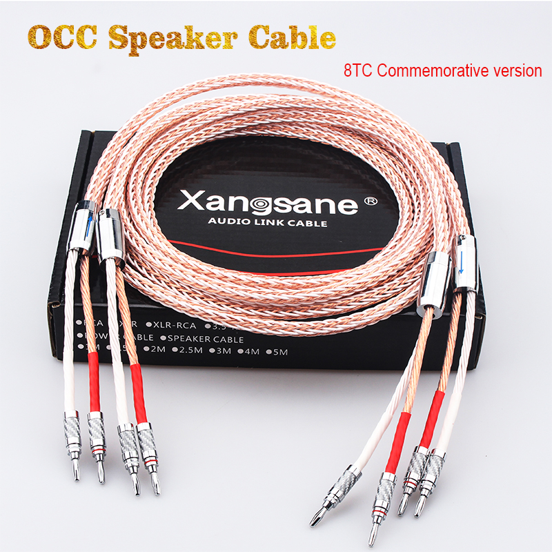Xangsane OCC 8TC Speaker Cable, Speaker Amplifier HiFi Connection Cable Y-Y / Banana Plug-Banana Plug / Y-Banana Plug