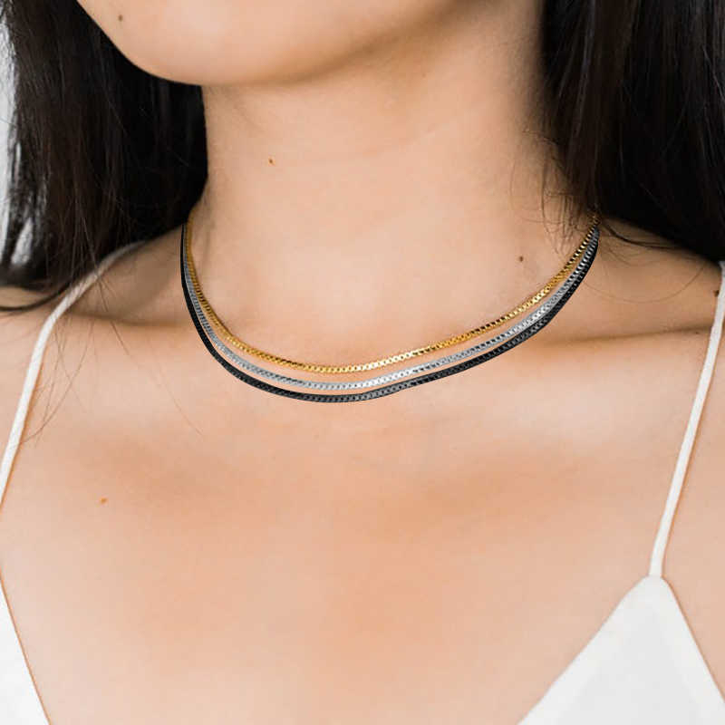 Standard Chain Stainless Steel Link In Silver Rose Gold Color Snake Chains Necklace For Women Hombre Thin Jewelry 20""