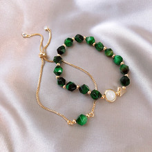 Korean Luxury Green Natural Stone Bracelet Woman Simple Personality Bra