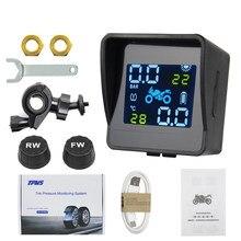 Sistema de alarma de supervisión de temperatura de neumáticos para motocicleta, dispositivo con carga Solar USB, TPMS, con 2 sensores externos