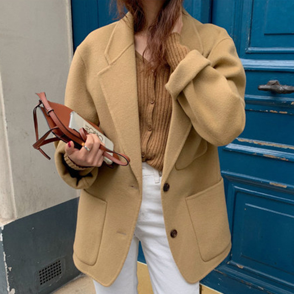 SHENGPALAE 2020 Ins Fashion Style Turn-down Collar Long Sleeve Women Blazers Keep-warm Autumn Winter Loose Female Coat FV435
