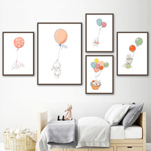 Cartoon Balloon Flower Basket Rabbit Nordic Posters And Prints Wall Art Canvas Painting Animal Pictures For Kids Room Decor