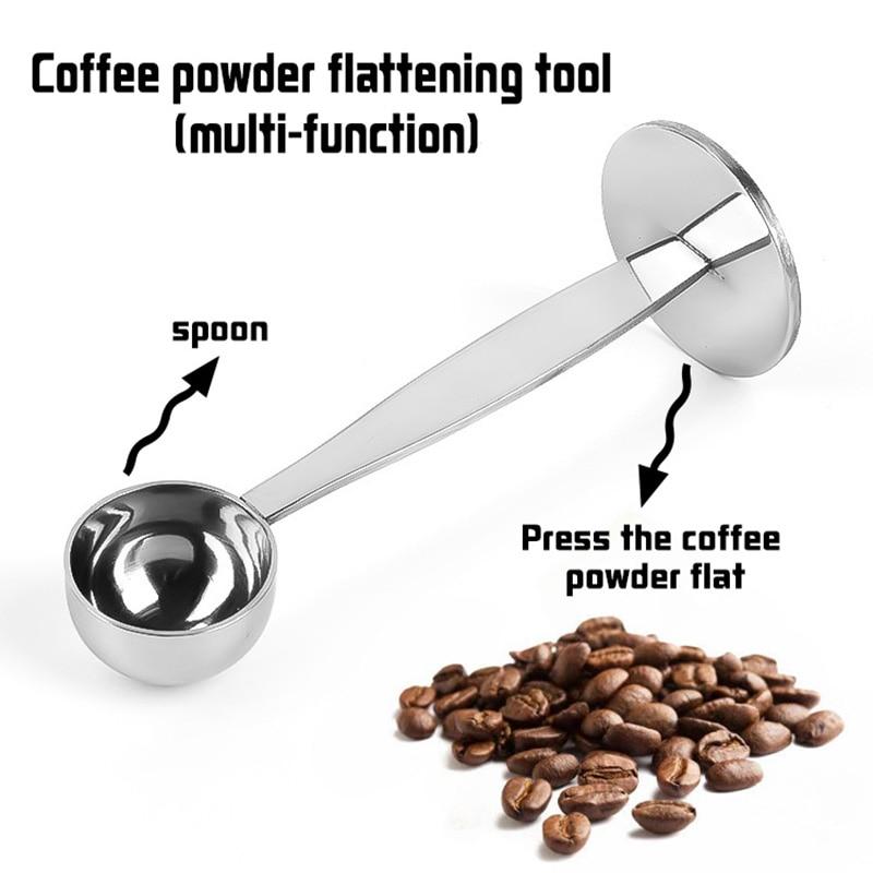2 in 1 coffee spoon Stainless steel powder press 10g standard spoon Dual-purpose coffee bean spoon Coffee maker accessories