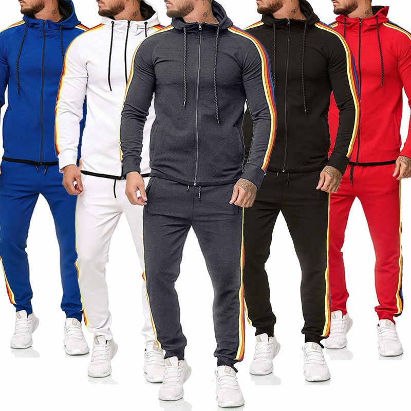 Primavera Autunno Tuta Da Uomo Set 2020 Brand New Felpa Con Cappuccio + Pantaloni Della Tuta Maschile Set di Sport A Strisce Pacthwork Jogging Outfit