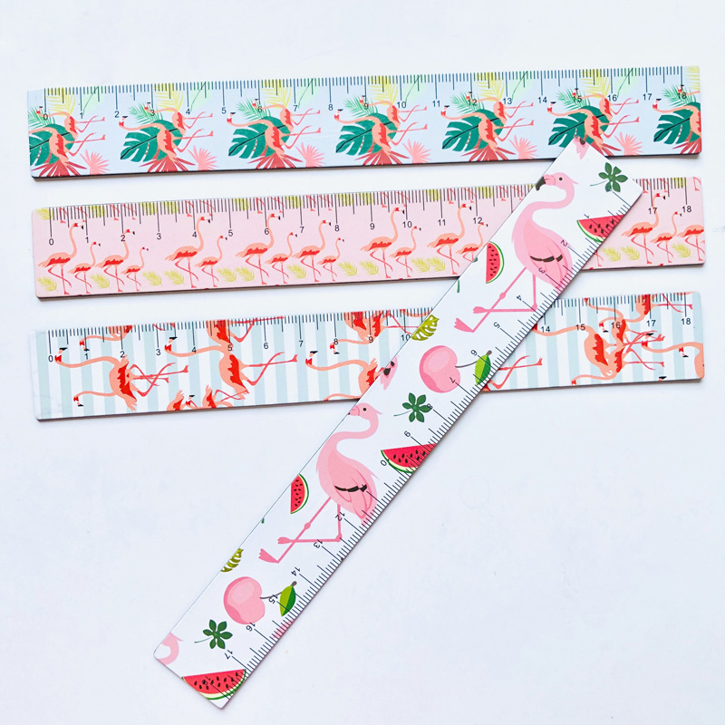 1X Pink Style Flamingo 18cm Soft Magnetic Fold Measuring Straight Ruler Drawing Stationery