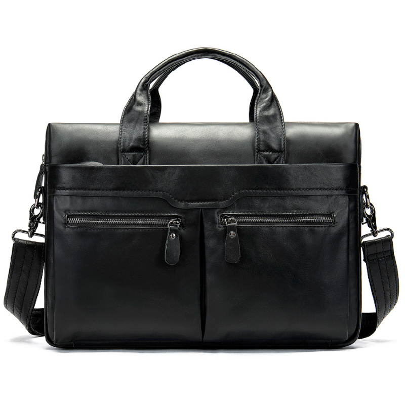 Luufan Black Soft Genuine Leather Men Briefcase Bag Real Cowskin Business Leather Laptop Bag Doctor Layer Daily Work Totes