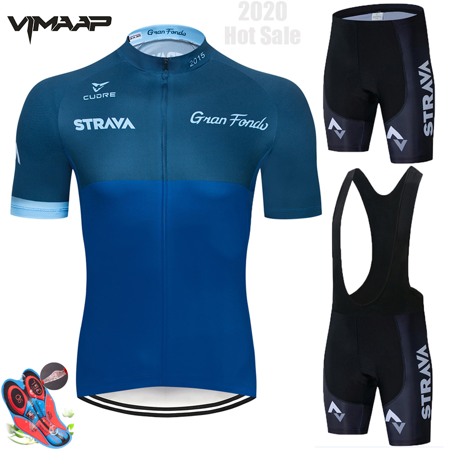 <font><b>STRAVA</b></font> Cycling Jersey Set Bicycle Clothing Breathable Men Short Sleeve <font><b>Shirt</b></font> <font><b>Bike</b></font> Bib Shorts 9D Gel Pad Pro Team Summer Full image