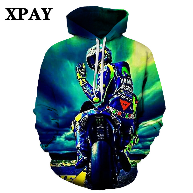 2020 Hot Men's New Motorcyclist autumn hoodie 3D HD Print O-neck Sweatshirt Leisure Loose Large size tracksuit Factory direct