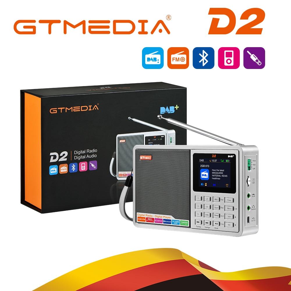 "GTMEDIA D2 Digital Radio FM stereo/ DAB Multi Band Radio 2.4""TFT-LCD color display Alarm Clock 18650 Lithium Rechargeable Battey"