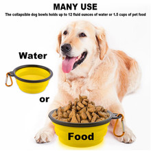 Pet Soft Dog Bowl 1PC Folding Silicone Travel Bowl For Dog Portable Collapsible Folding