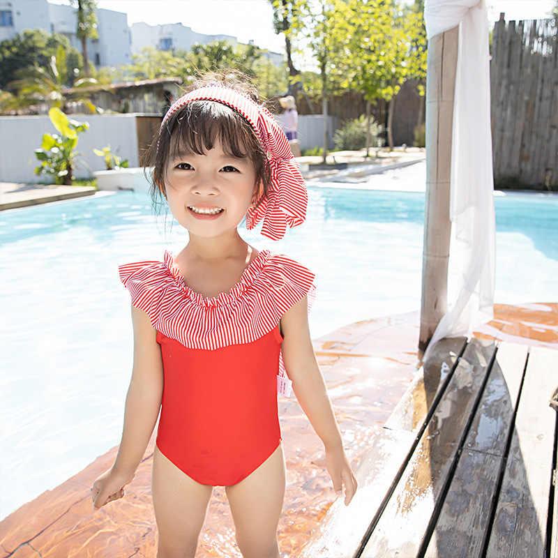 INS Spa complejo niña Triangular traje de baño de una pieza lindo cinta de pelo de bebé traje de baño Corea del Sur hombres y mujeres niños