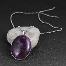 цена Natural Stone Pendants Tiger Eye Pink Quartz Purple Crystal Lapis Necklace 4*3cm Big Oval Flat Bead Women Healing Jewelry онлайн в 2017 году