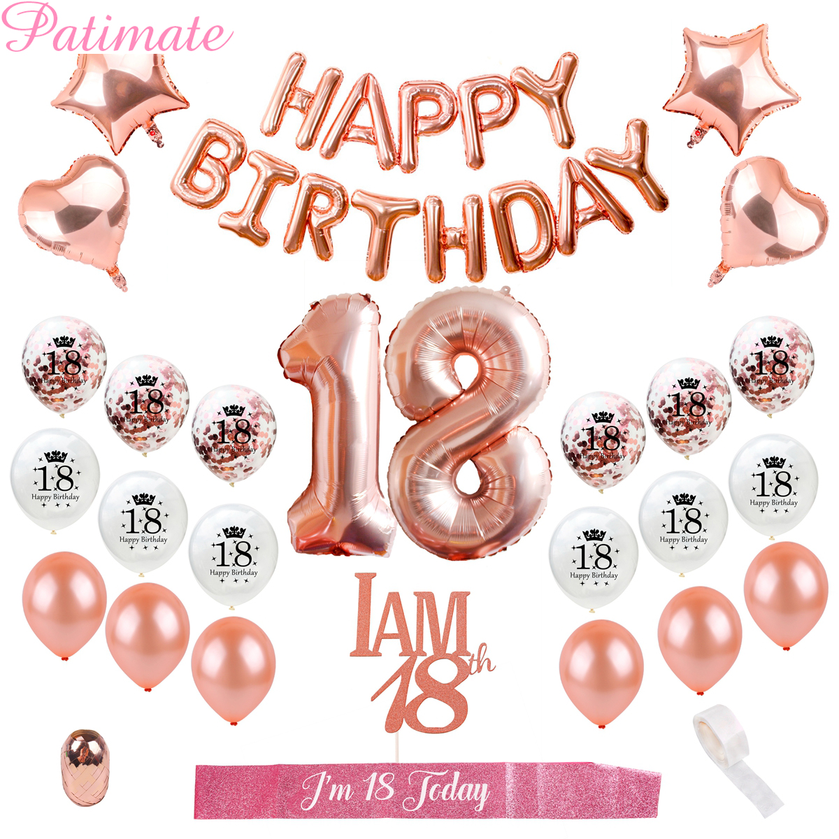 PATIMATE Happy Birthday Party Decors Adult 18th Balloons Sweet 18 Eighteen Favors Festival