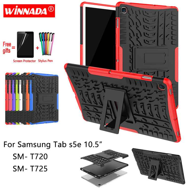 For Samsung GALAXY Tab S5e <font><b>T720</b></font> <font><b>case</b></font> 10.5 inch SM- <font><b>T720</b></font> T725 Armor <font><b>case</b></font> Tablet Silicone TPU+PC Shockproof Stand Cover +pen+Film image