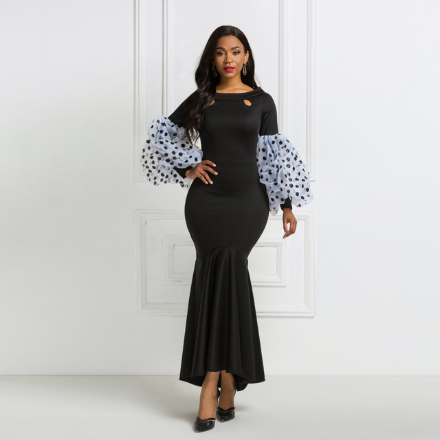 Black Maxi Party Dress Long Puff Sleeves Polka Dot Hollow Out Sexy Event Occasion Women Elegant Celebrate Evening Night Robes 3