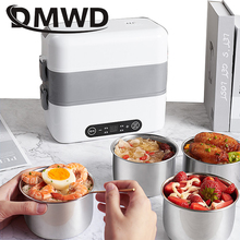 DMWD MINI Stew Rice Cooker Steamer Heating Electric Thermal Lunch Box 4 Ceramics Food Container Warmer Meal Heater Lunchbox 1.5L