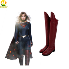 Supergirl Season 5 Cosplay Costume Boots Superwoman Pu Leather Shoes For Women Halloween Costume Accessories supergirl who is superwoman