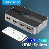 Vention-conmutador HDMI 2,0, 3 en 1, out 4K/60Hz, 3x, 1/5x1, HDMI, divisor para XBOX 360, PS4, caja inteligente 5 en 1, adaptador de interruptor HDMI 2,0