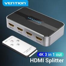 Vention HDMI 2.0 الجلاد 3 في 1 خارج 4K/60Hz 3x 1/5x1 مقسم الوصلات البينية متعددة الوسائط وعالية الوضوح (HDMI) ل XBOX 360 PS4 الذكية صندوق 5 في 1 خارج HDMI 2.0 التبديل محول