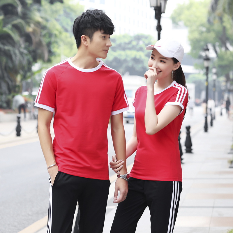 Summer Sports Leisure Suit MEN'S Short Sleeve Shirt Trousers Couples Running Sports Clothing Set School Uniform Business Attire