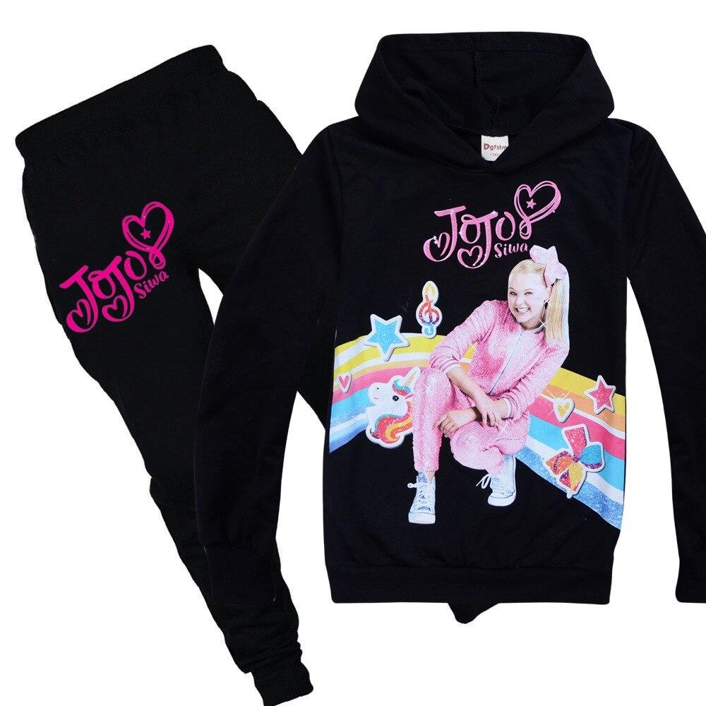 JOJO Siwa/розовая детская одежда для малышей, футболка с длинными рукавами топы для девочек, толстовки + штаны, комплект из 2 предметов, одежда