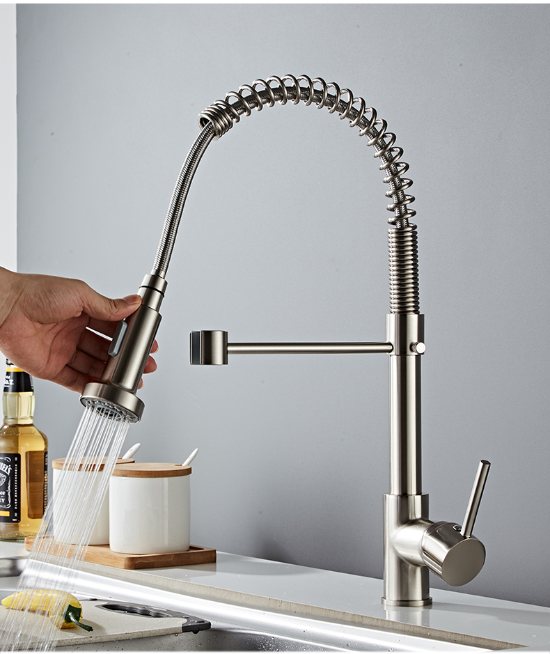 H37696435bc024c0e879e76dbc2048fdam Deck Mounted Flexible Kitchen Faucets Pull Out Mixer Tap Black Hot Cold Kitchen Faucet Spring Style with Spray Mixers Taps E9009