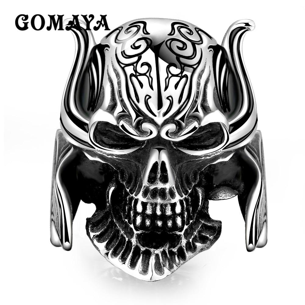 GOMAYA Real 925 Sterling Silver Skull Ring Men Adjustable Punk Hip Hop Biker Style 316L  Mens Gothic Halloween Jewelry
