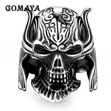 цена на GOMAYA Real 925 Sterling Silver Skull Ring Men Adjustable Ring Punk Hip Hop Biker Style 316L  Mens Gothic Halloween Jewelry