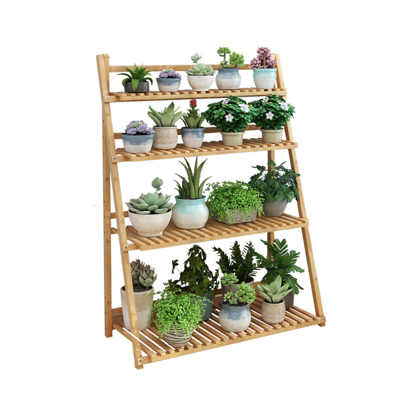 Balcony Decorate A Living Room Landing Type Solid Wood Meaty Green Rose Rack Indoor Flowerpot Multi-storey Botany Frame
