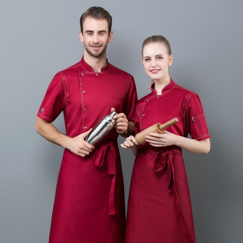 Chef's Long Sleeve Hotel Restaurant Hotel Kitchen Chef Uniform Short-sleeved Summer Bakery Male Thin Air