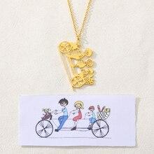 Персонализированные детского рисунка стали ожерелье серебро золото нержавеющая цепь для женщин девушки ювелирные изделия на заказ для детей подарок