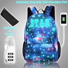 Светящаяся школьная сумка для студентов, рюкзак для ноутбука для мальчиков и девочек, рюкзак с usb-портом для зарядки, противокражный замок д...
