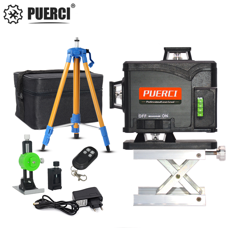 PUERCI 12/16 line 4D laser level Super Powerful Self-leveling Cross Line 360 Green Laser Level with outdoor
