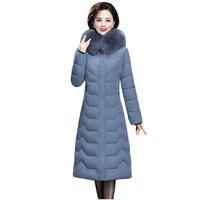 Długi wąski futrzany płaszcz z kapturem zimowa puchowa kurtka gruby ciepłe typu Oversize bawełny wyściełane watowane parki znosić