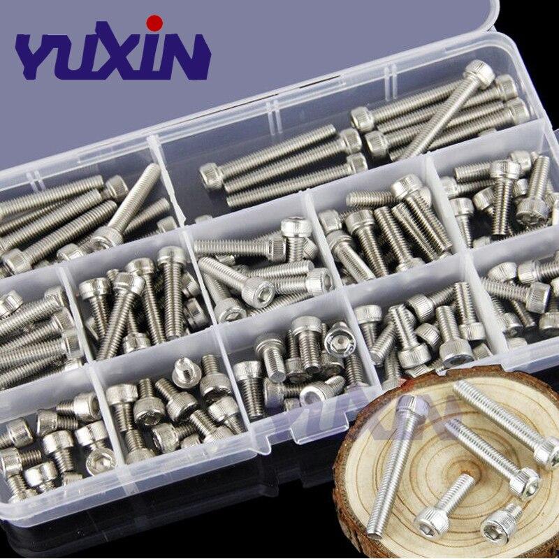 280 pçs/set A2-70 304 Aço Inoxidável DIN912 M3 M4 M5 M6 M8 Parafuso Allen Hex Soquete Cap Parafuso de Cabeça Redonda parafusos Variedade Set Kit