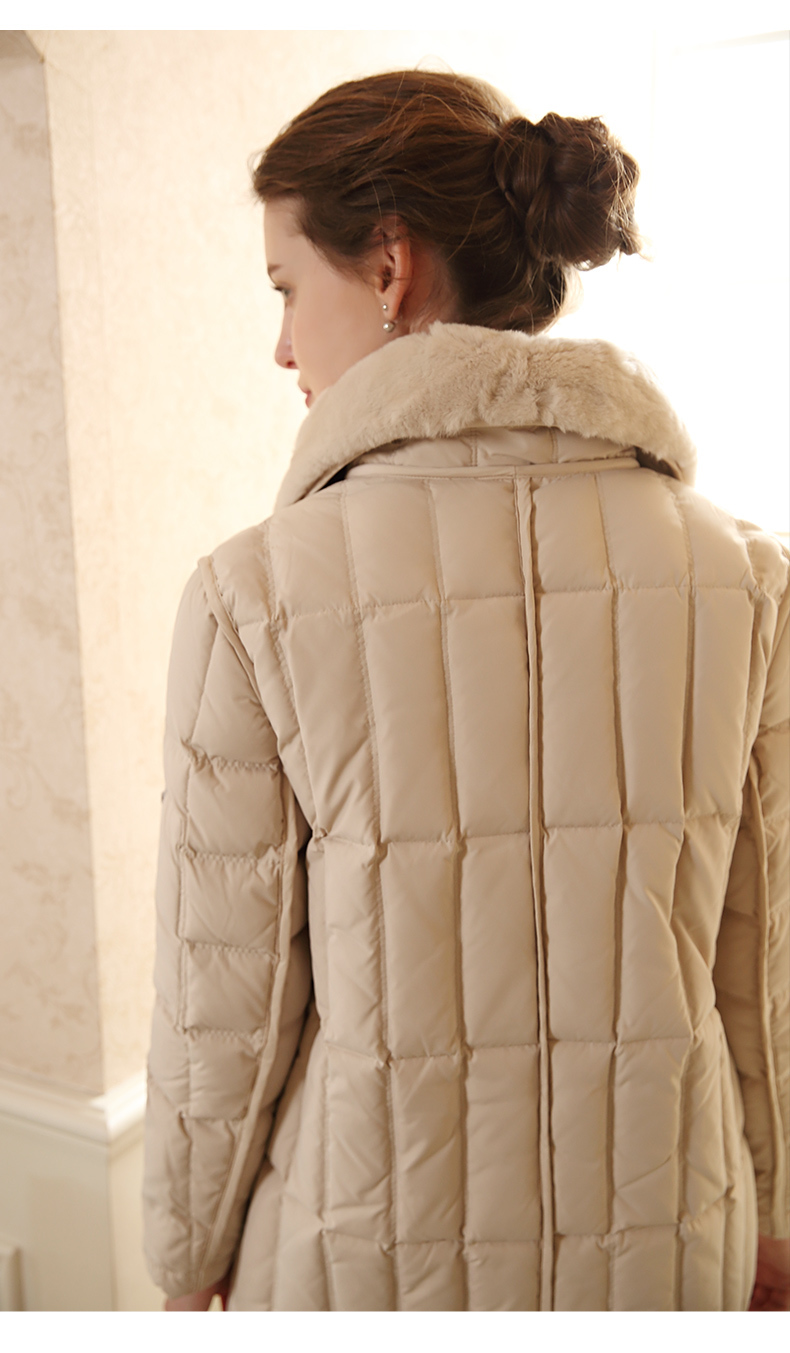 AYUNSU 90% Duck Down Jacket Female European Fashion Elegant Slim Long Overcoat Rex Rabbit Fur Collar Warm Parkas LX2258