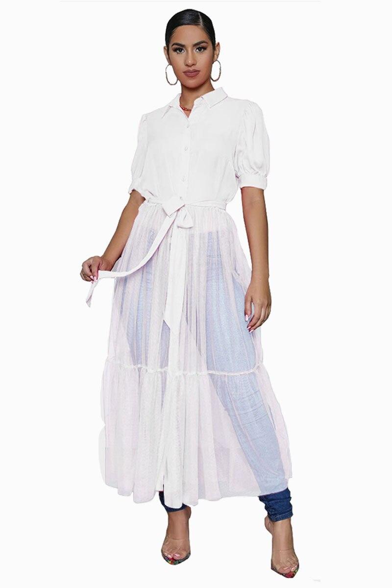 CN975 Fashion Shirt Style Button Gauze Dress Ladies Long Street Solid Color Dress Casual Home Commuting Dress Female Wholesale 8