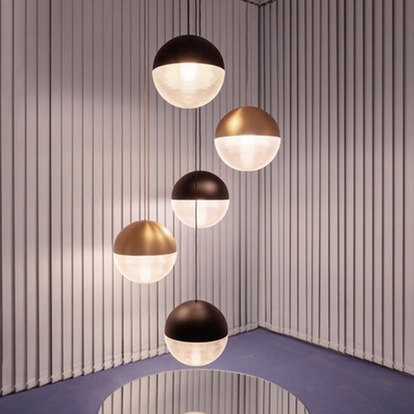 Nordic LED Glass Round Ball Pendant Lights Lighting Postmodern Cafe Bar Living Room Lamp Restaurant Bedroom Decor Light Fixtures