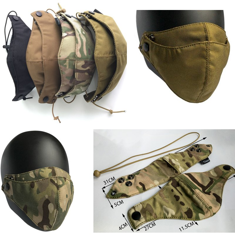 Half face shield Tactical Protective Gear Camouflage Multicam face shield Training Cycling face shield Cordura Face Cover