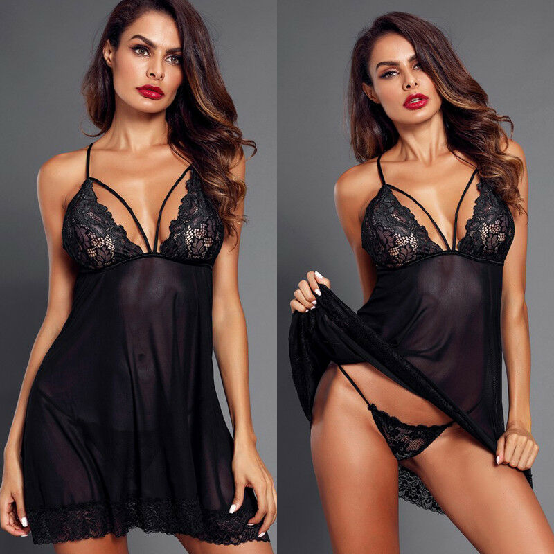 US Women's Lingerie Lace Dress Underwear Temptation Plus Size Sexy Lady Sleepwear New Bikini Cover Up Beach Dress