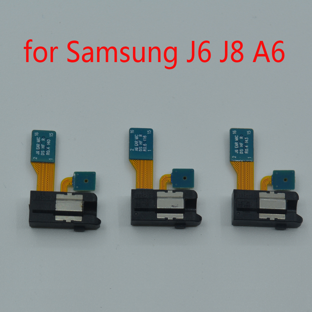 Headphone Jack Microphone For Samsung J6 J8 A6 Plus 2018 J600 J810 A600 A605 Phone New Earphone Audio Jack Mic Flex Cable