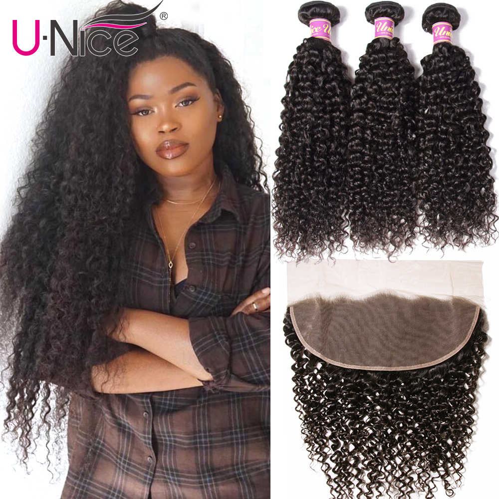 UNice Hair Icenu Remy Hair Series Curly Brazilian Hair Weave Bundles With Lace Frontal 4 PCS Human Hair Extensions Free Part